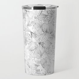 Hand painted black white watercolor tribal floral Travel Mug
