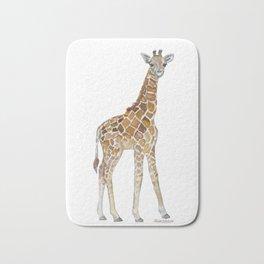 Baby Giraffe Watercolor Painting Bath Mat