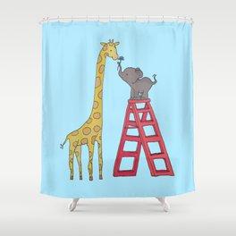 Uneven height love Shower Curtain