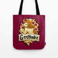 gryffindor Tote Bags featuring Gryffindor Crest by AriesNamarie