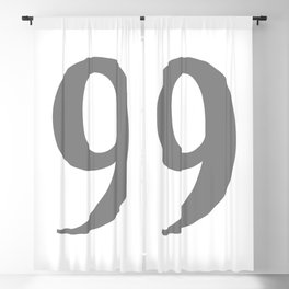 9 (GRAY & WHITE NUMBERS) Blackout Curtain
