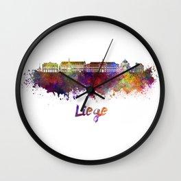 Liege skyline in watercolor Wall Clock