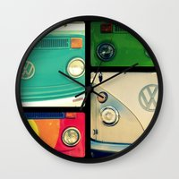 vw Wall Clocks featuring VW Collage by RDelean