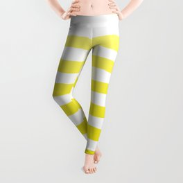 Sun Yellow Handdrawn horizontal Beach Stripes - Mix and Match with Simplicity of Life Leggings