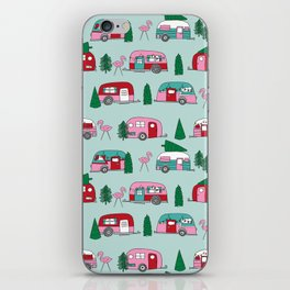Camper vacation christmas road trip tropical home away from home pattern iPhone Skin