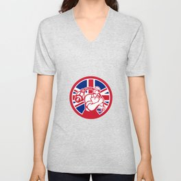 British Cable Installer Union Jack Flag Icon Unisex V-Neck