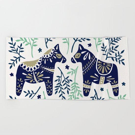 Swedish Dala Horse – Navy & Mint Palette Beach Towel