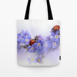 Ladybirds on Forget-me-not Tote Bag