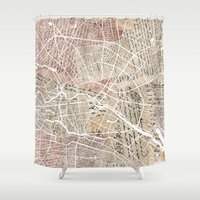berlin Shower Curtains featuring Berlin by Mapsland