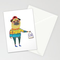 Gin Pug. Pug art, gin art. Stationery Cards