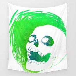 Scratchy Skull (Green) Wall Tapestry