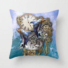 Steampunk Dolphin Time Throw Pillow