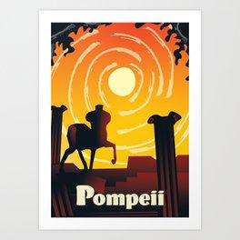 Pompeii retro travel poster. Art Print