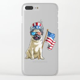 Pug Shades on 4th Of July Clear iPhone Case