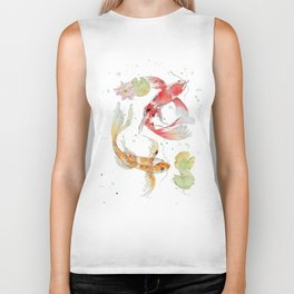 "Watercolor Painting of Picture ""Koi Pond"" Biker Tank"
