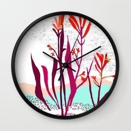 Kangaroo paw illustration Wall Clock