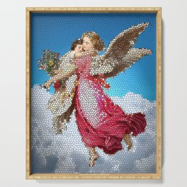 Angel and Child, Stained Glass, Divine Serving Tray