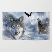 wolves Area & Throw Rugs featuring Wolves by Julie Hoddinott