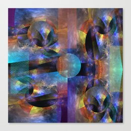 Modern colourful grunge abstract with patterns Canvas Print