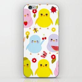 Kawaii colorful blue green orange pink yellow chick iPhone Skin