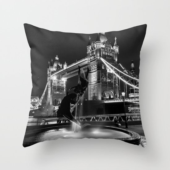 Tower Bridge And the Girl and dolphin Statue Throw Pillow