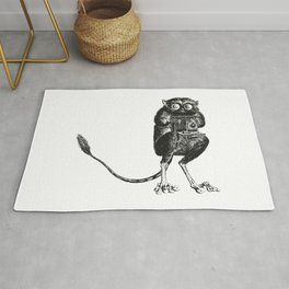 Say Cheese! | Tarsier with Vintage Camera | Black and White | Rug