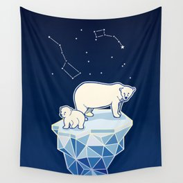Polar bears on iceberg Wall Tapestry