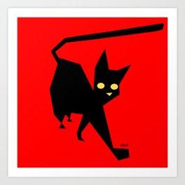 The Strut (Black Cat) Art Print
