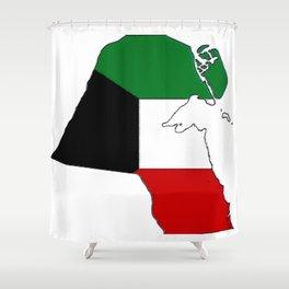 Kuwait Map with Kuwaiti Flag Shower Curtain