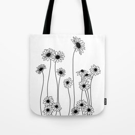 Minimal line drawing of daisy flowers Tote Bag