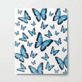 Blue butterfly pattern Metal Print