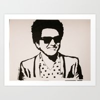bruno mars Art Prints featuring Bruno Mars by farwasart