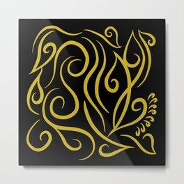 black and gold Line Art Design Metal Print