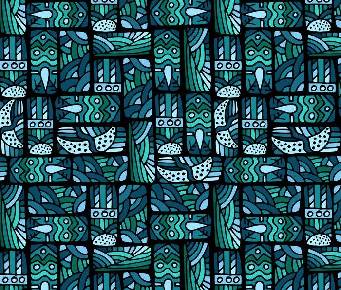 Ethnic blue pattern Metal Travel Mug