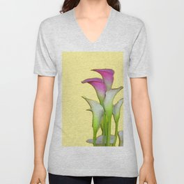 PURPLE & WHITE CALLA LILIES FLORAL YELLOW ART Unisex V-Neck