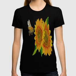 Summer Bee Yellow Sunflower Painting T-shirt