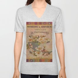 Cup and Saucer with Flowers Unisex V-Neck
