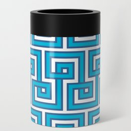 Greek Key - Turquoise Can Cooler