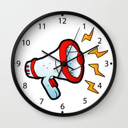 megaphone cartoon Wall Clock