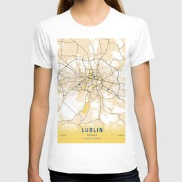 Lublin Yellow City Map T-shirt