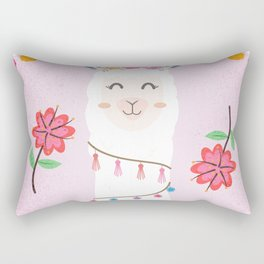 Cute Pink Llama - Boho Floral Alpaca with Pompoms Rectangular Pillow