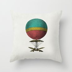 Vintage Hot Air Balloon II Throw Pillow