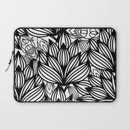 Modern hand drawn black white watercolor floral Laptop Sleeve