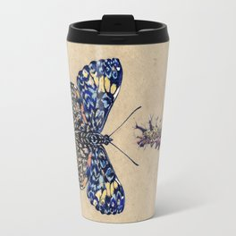 Blue Cracker. Horizontal rain. Travel Mug