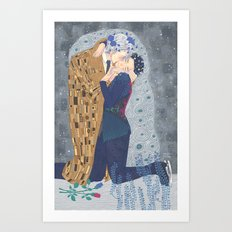 Kiss on Ice Art Print