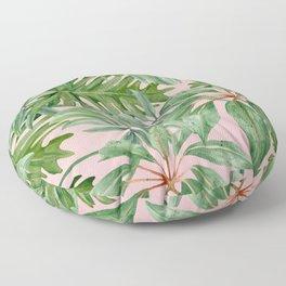 Tropical art,Palmtree,monstera pattern,pink background  Floor Pillow