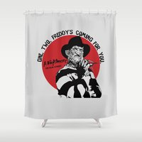 freddy krueger Shower Curtains featuring Freddy K quote by Buby87