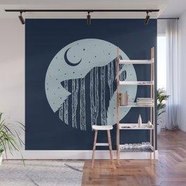 Midnight Blue Woodland Night Wolf Wall Mural