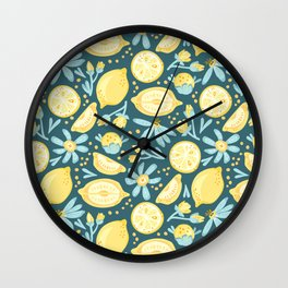Lemon Pattern Green Wall Clock