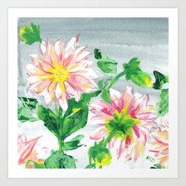 Dahlias for a cloudy day i Art Print